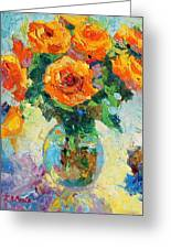 Seven Yellow Roses In Glass Vase Oil Painting Greeting Card by Thomas Bertram POOLE
