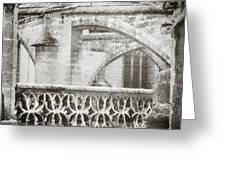 Seville Cathedral Buttresses Black And White Greeting Card by Angela Bonilla