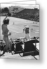 Sf Giants Fans Cheer Greeting Card by Underwood Archives