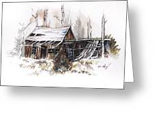 Shack Greeting Card by Aaron Spong