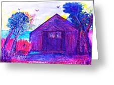 Shack And Trees By The Water Greeting Card by Anne-Elizabeth Whiteway