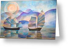 Shades Of Tranquility Greeting Card by Tracey Harrington-Simpson