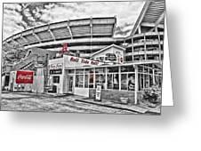 Shadow Of The Stadium Greeting Card by Scott Pellegrin