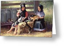 Sharing With A Friend Greeting Card by Laurie Hein
