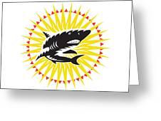 Shark Swimming Up Sunburst Woodcut Greeting Card by Aloysius Patrimonio