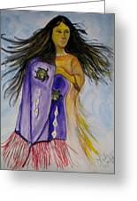 Shawl Dancer Greeting Card by Linda Waidelich