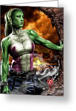 She-hulk Greeting Card by Pete Tapang