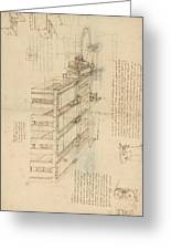 Shearing Machine With Detailed Captions Explaining Its Working From Atlantic Codex Greeting Card by Leonardo Da Vinci