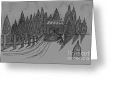 Shed In The Snow Greeting Card by Neil Stuart Coffey