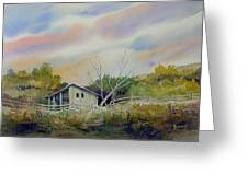 Shed With A Rail Fence Greeting Card by Sam Sidders