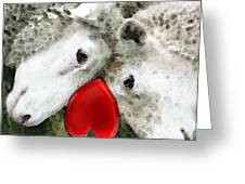 Sheep Art - For Life Greeting Card by Sharon Cummings