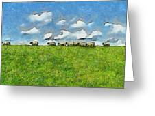Sheep Herd Greeting Card by Ayse Deniz
