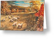 Sheep In October's Field Greeting Card by Joy Nichols