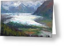 Shifting Light - Matanuska Glacier Greeting Card by Talya Johnson