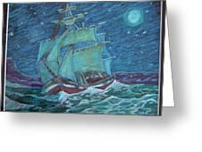 Ship At Sea Greeting Card by Joseph Hawkins