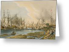 Ship Building At Limehouse Greeting Card by William Parrot