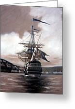 Ship In Sepia Greeting Card by Janet King