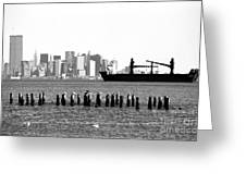 Ship In The Harbor 1990s Greeting Card by John Rizzuto
