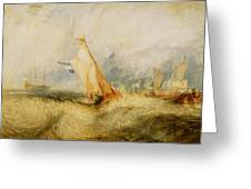 Ships A Sea Getting A Good Wetting Greeting Card by Joseph Mallord