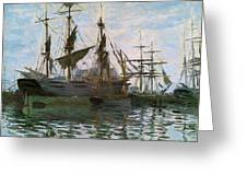 Ships In Harbor Greeting Card by Claude Monet - L Brown
