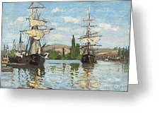 Ships Riding On The Seine At Rouen Greeting Card by Claude Monet