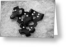 Shoe Spiked Grips On Melting Ice And Snow On Street Surface Greeting Card by Joe Fox