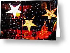 Shop Window On Christmas Eve Greeting Card by Terril Heilman