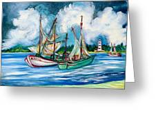 Shrimpers At The Lighthouse Greeting Card by Gunter  Hortz