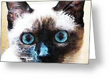Siamese Cat Art - Black And Tan Greeting Card by Sharon Cummings