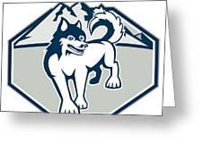 Siberian Husky Dog Mountain Retro Greeting Card by Aloysius Patrimonio