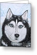 Siberian Husky Greeting Card by Yvonne Johnstone