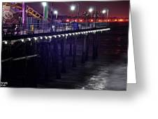 Side Of The Pier - Santa Monica Greeting Card by Gandz Photography