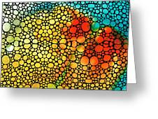 Siesta Sunrise - Stone Rock'd Art Painting Greeting Card by Sharon Cummings