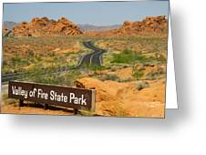 Sign On Road To Valley Of Fire State Park Nevada Greeting Card by Robert Ford