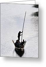 Silhouette Of A Punt On The River Greeting Card by Matthias Hauser