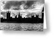 Silhouette Of  Palace Of Westminster And The Big Ben Greeting Card by Semmick Photo