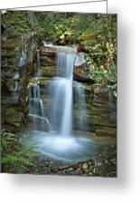 Silky Flow Of Waterfalls, Rainbow Greeting Card by Roberta Murray