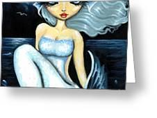 Silver Moon Greeting Card by Elaina  Wagner