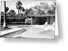 Sinatra Pool And Cabana Bw Palm Springs Greeting Card by William Dey