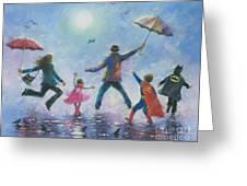 Singing In The Rain Super Hero Kids Greeting Card by Vickie Wade
