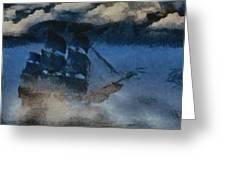 Sinking Sailer Greeting Card by Ayse Deniz