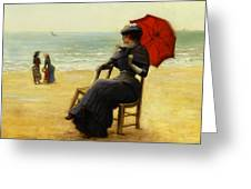 Sitting By The Sea Greeting Card by Edouard Bisson