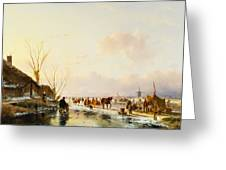 Skaters by a Booth on a Frozen River Greeting Card by Andreas Schelfhout