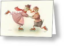 Skating Ducks 3 Greeting Card by Kestutis Kasparavicius