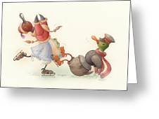 Skating Ducks 8 Greeting Card by Kestutis Kasparavicius