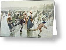Skating Greeting Card by Harry Sandham