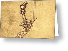 Skeleton On Cycle Greeting Card by Autogiro Illustration