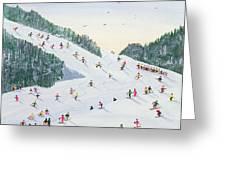 Ski Vening Greeting Card by Judy Joel