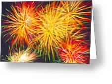 Skies Aglow With Fireworks Greeting Card by Mark E Tisdale