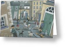 Skipping By The Green Door Greeting Card by Peter Adderley